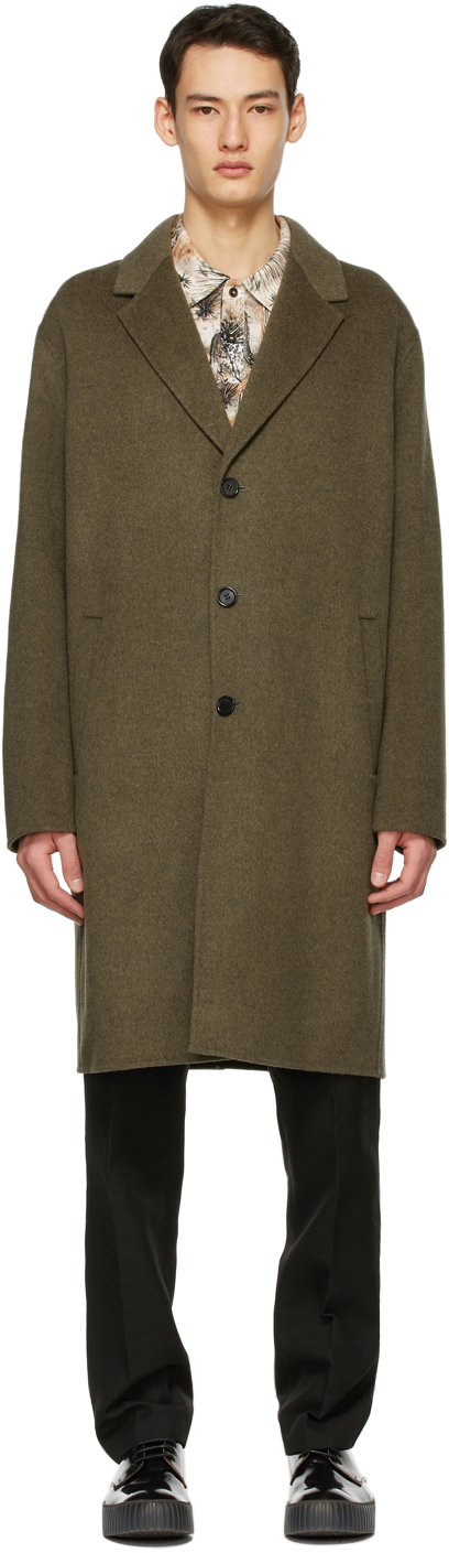 Acne Studios Khaki Wool Double Faced Coat 211129M183100
