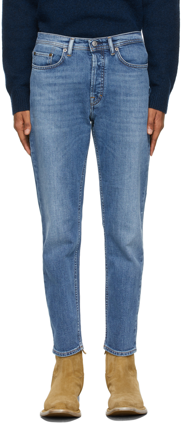 Acne Studios Blue Faded Slim Tapered Jeans 211129M186132