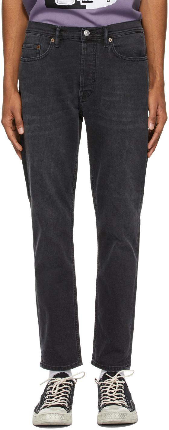Acne Studios Black Faded Slim Tapered Jeans 211129M186146