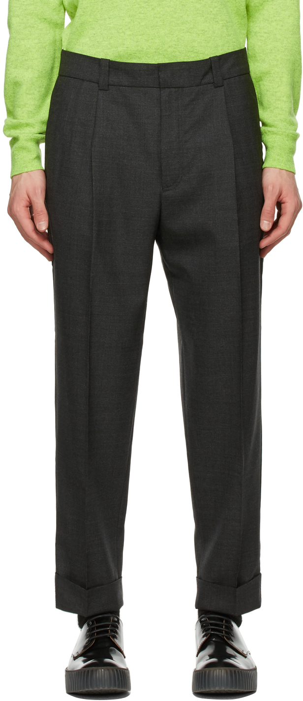 Acne Studios Grey Wool Tapered Trousers 211129M191075