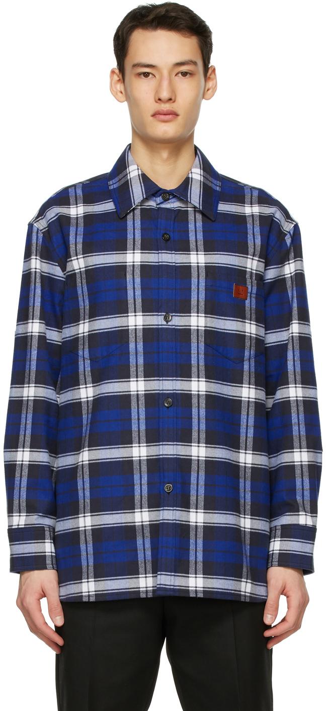 Acne Studios Blue Plaid Over Shirt 211129M192075