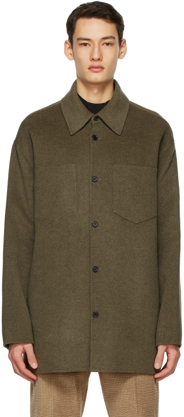 Acne Studios Khaki Wool Double Faced Shirt 211129M192078