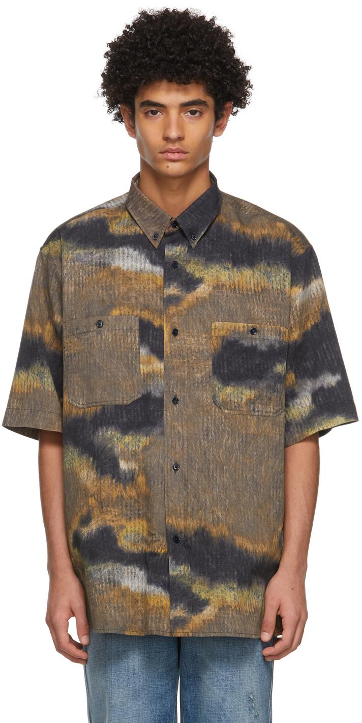 Acne Studios Brown Black Graphic Short Sleeve Shirt 211129M192084