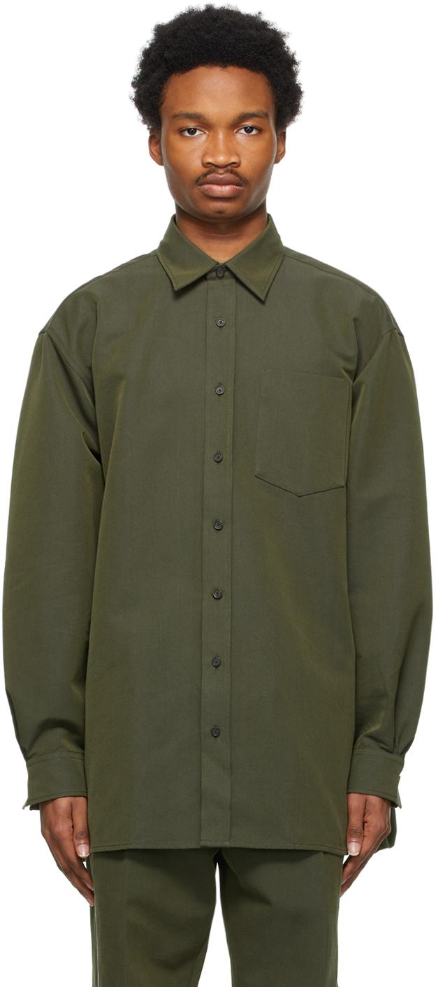Acne Studios Khaki Oversized Shirt 211129M192085