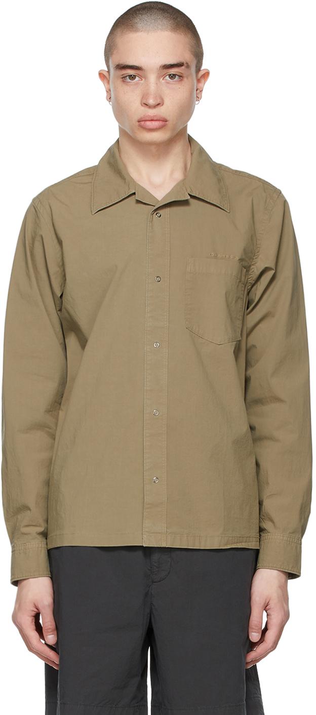 Acne Studios Khaki Boxy Cropped Shirt 211129M192097
