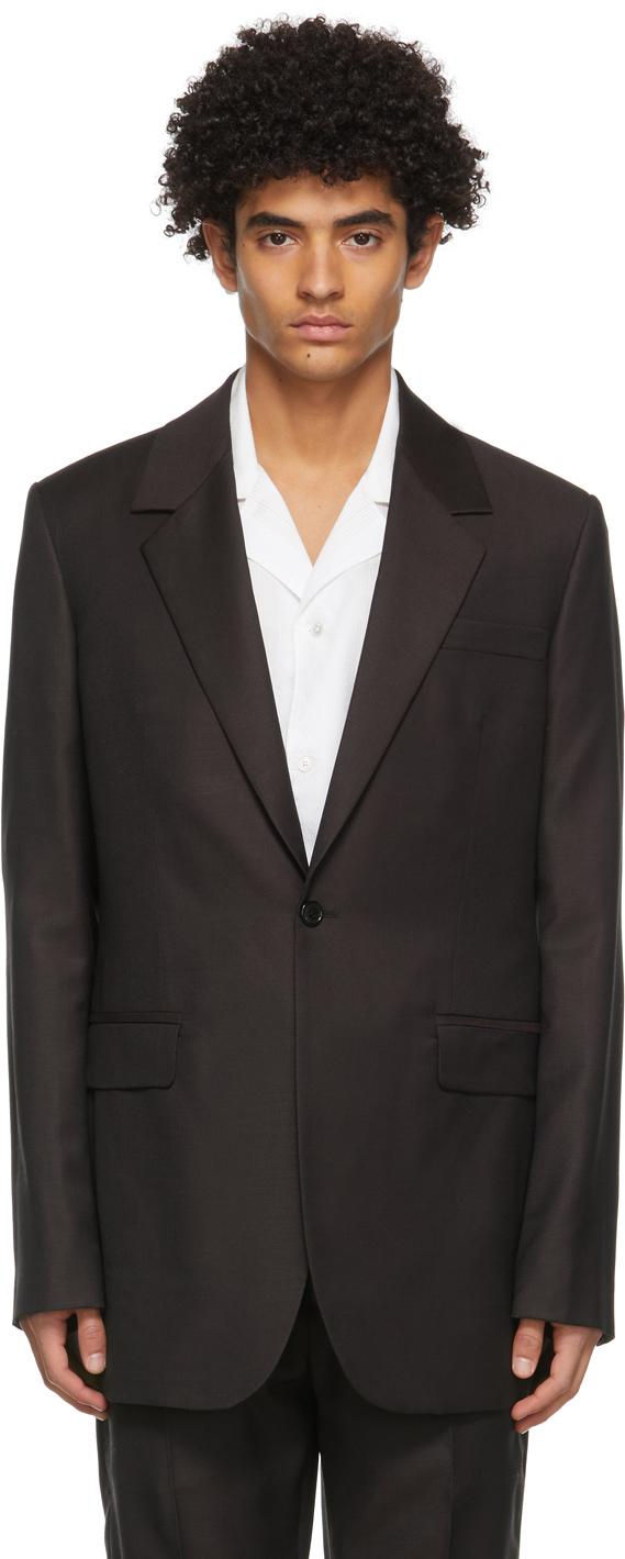Acne Studios Burgundy Wool Slim Suit Blazer 211129M195167