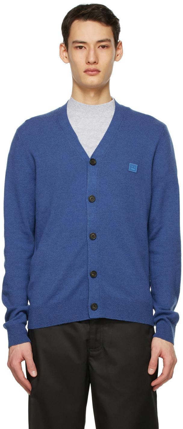 Acne Studios Blue Wool Patch Cardigan 211129M200042