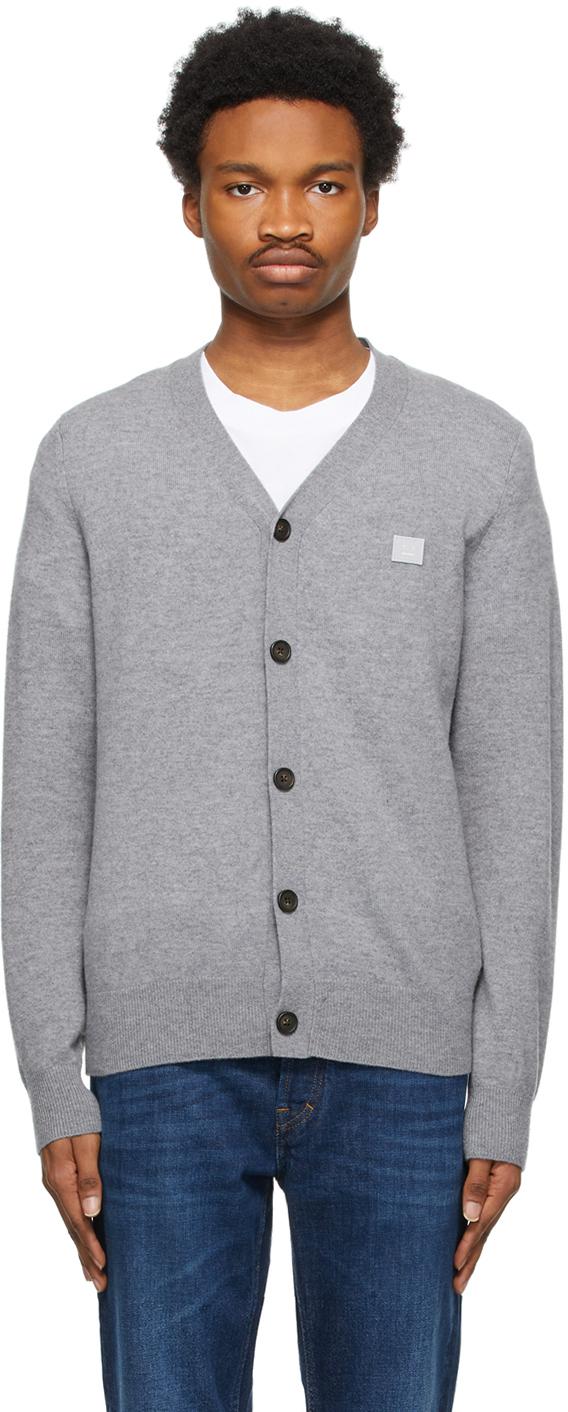 Acne Studios Grey Wool Patch Cardigan 211129M200048