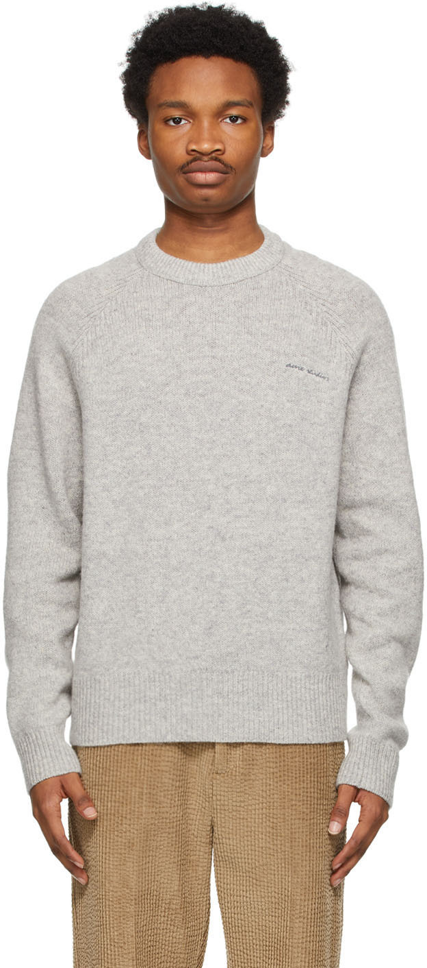 Acne Studios Grey Raglan Crewneck Sweater 211129M201048