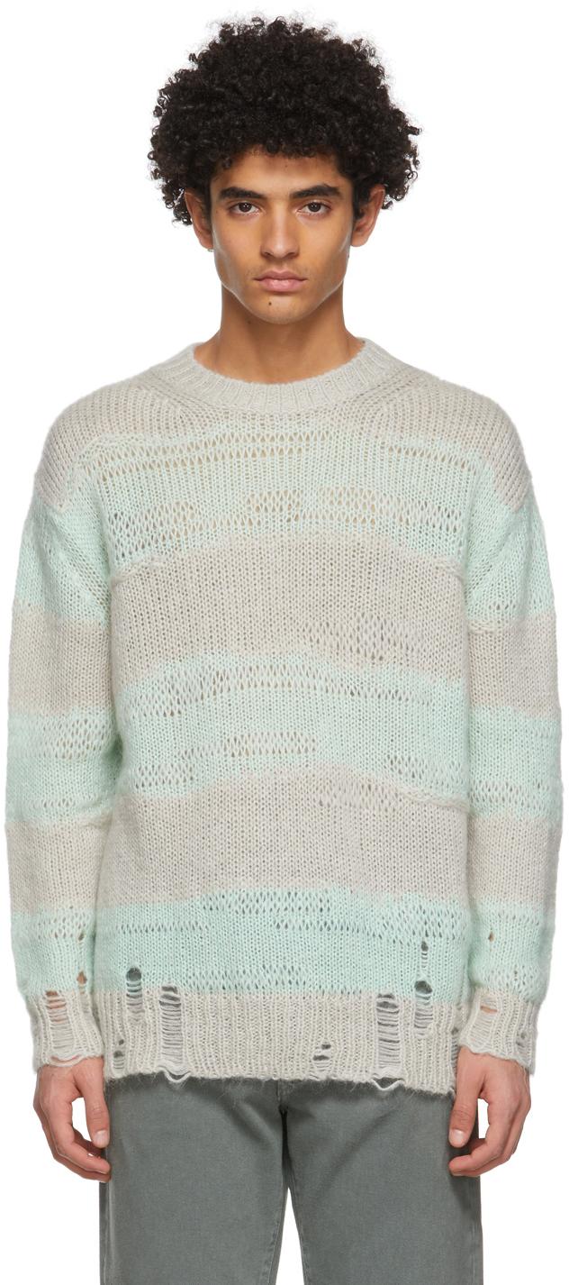 Acne Studios Green Grey Block Stripe Sweater 211129M201061