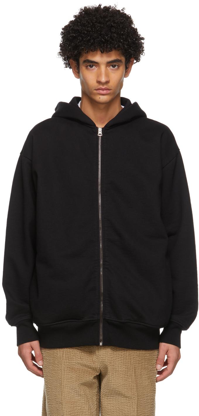 Acne Studios Black Fleece Oversized Zip Hoodie 211129M202063