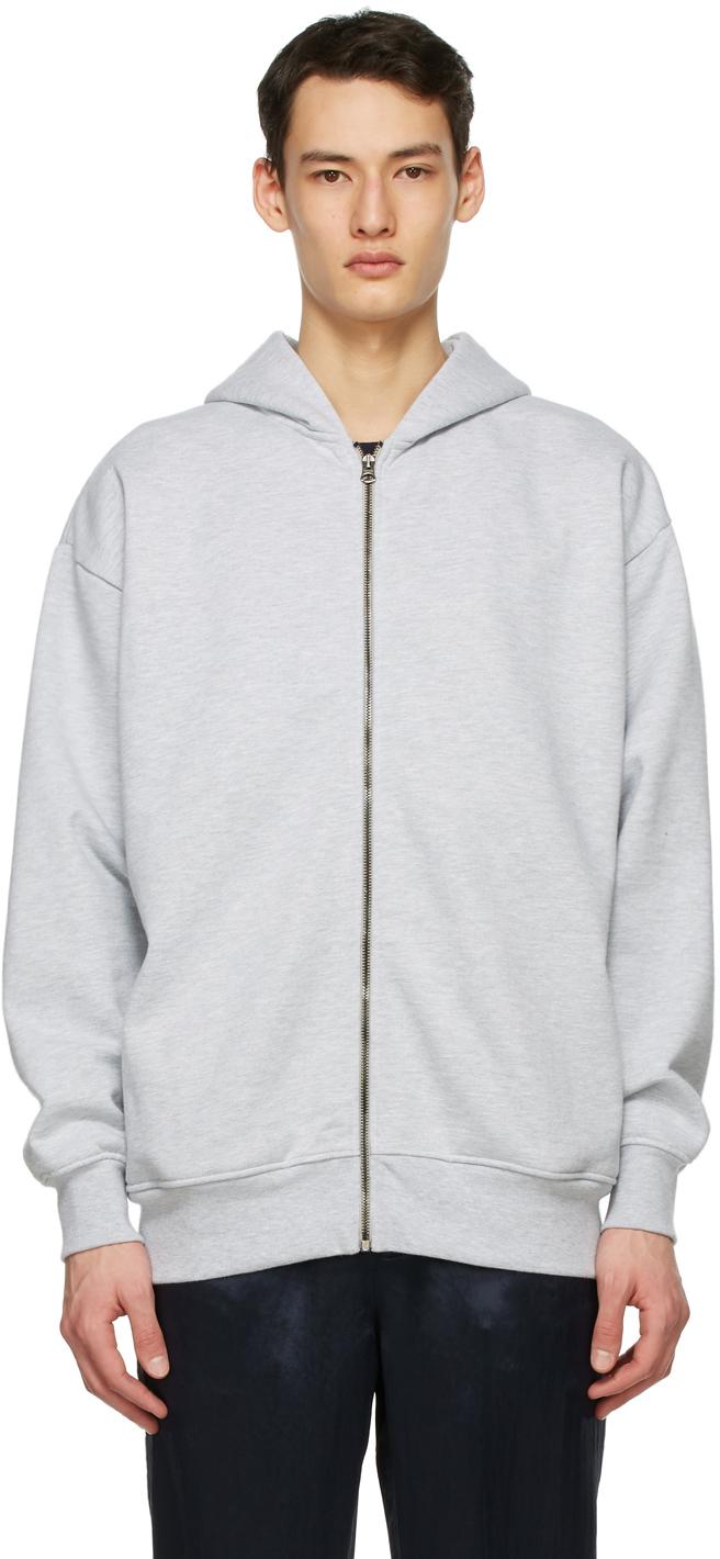 Acne Studios Grey Pink Label Zip Hoodie 211129M202065