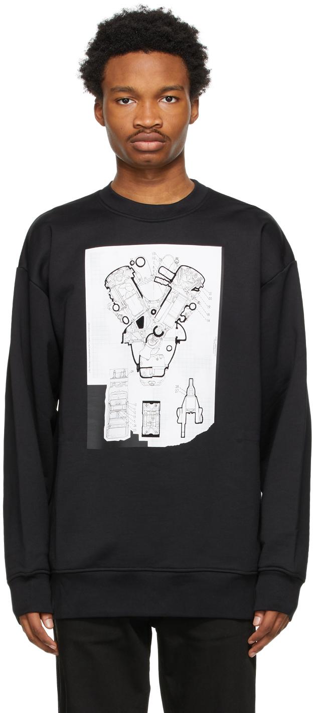 Acne Studios Black Flocked Graphic Sweatshirt 211129M204081