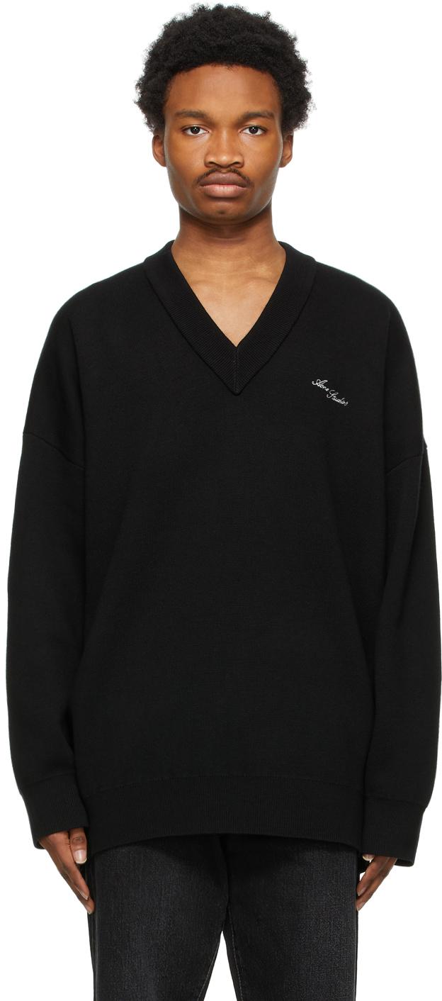 Acne Studios Black Rib Knit V Neck Sweater 211129M206135