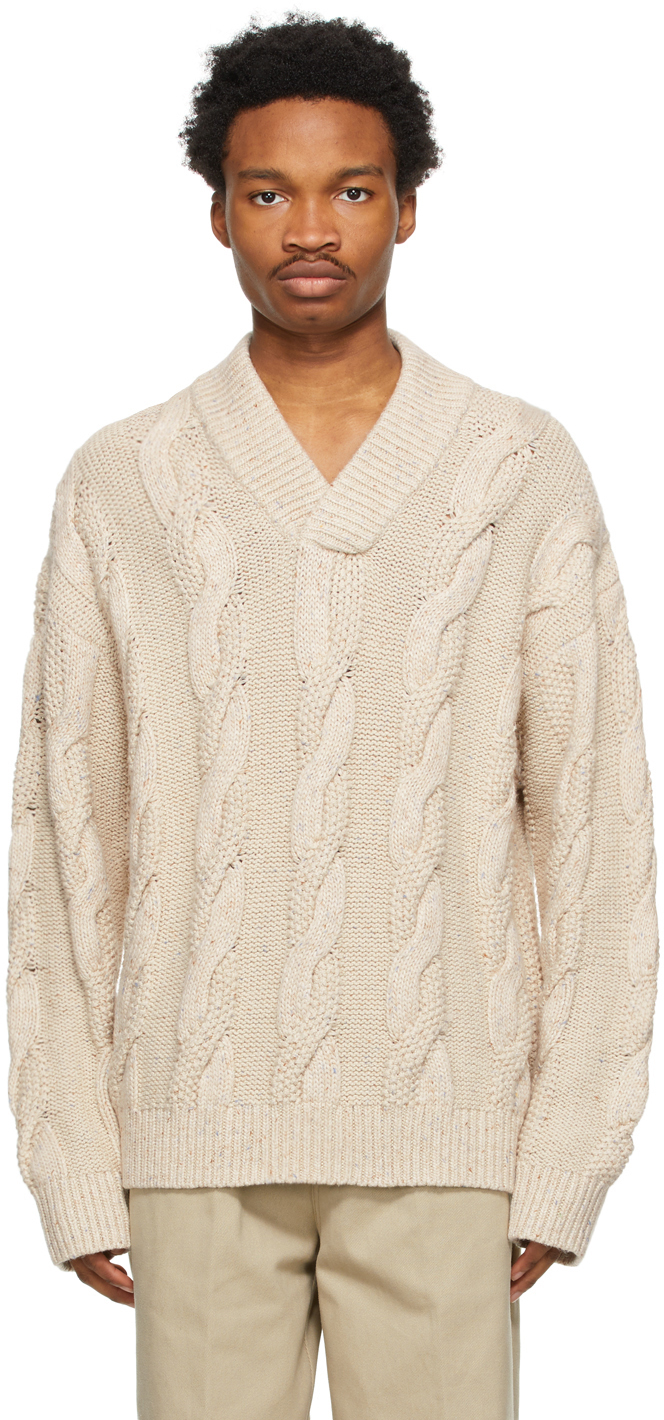 Acne Studios Beige Cable Knit V Neck Sweater 211129M206139