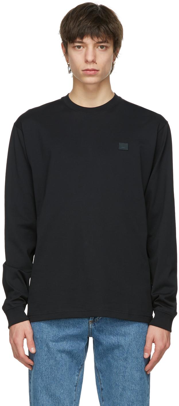 Acne Studios Black Nash Patch Long Sleeve T Shirt 211129M213068