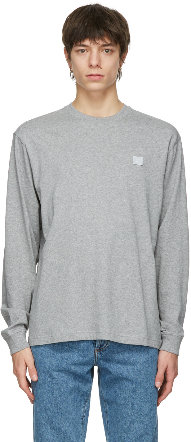 Acne Studios Grey Nash Patch Long Sleeve T Shirt 211129M213069