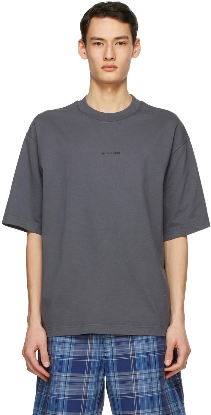 Acne Studios Grey Logo T Shirt 211129M213081