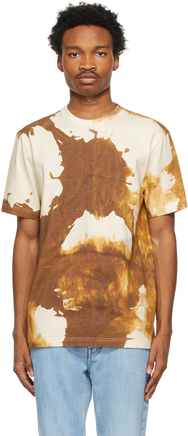Acne Studios Beige Brown Splatter T Shirt 211129M213085
