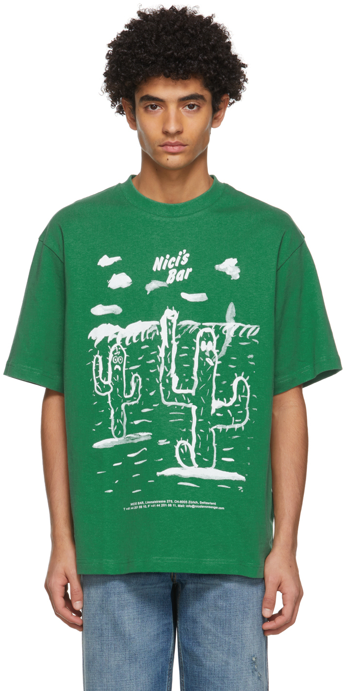 Acne Studios Green Beni Bischof Edition Nicis Bar T Shirt 211129M213087