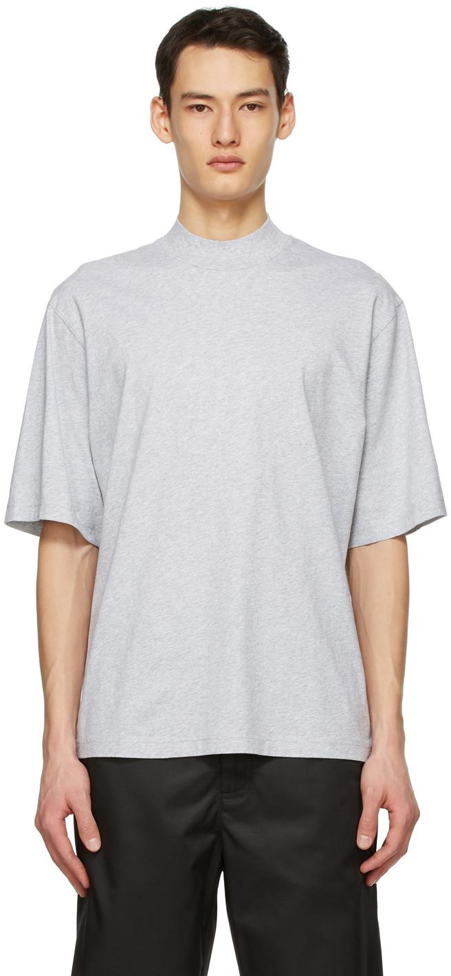 Acne Studios Grey Mock Neck T Shirt 211129M213091