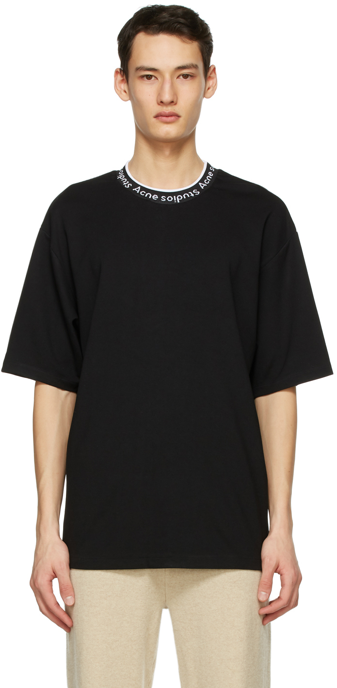 Acne Studios Black Jacquard Logo T Shirt 211129M213097