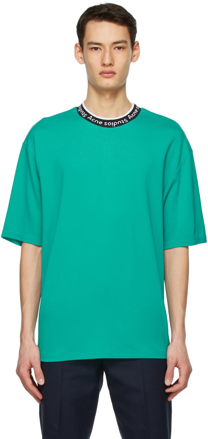Acne Studios Green Jacquard Logo T Shirt 211129M213098