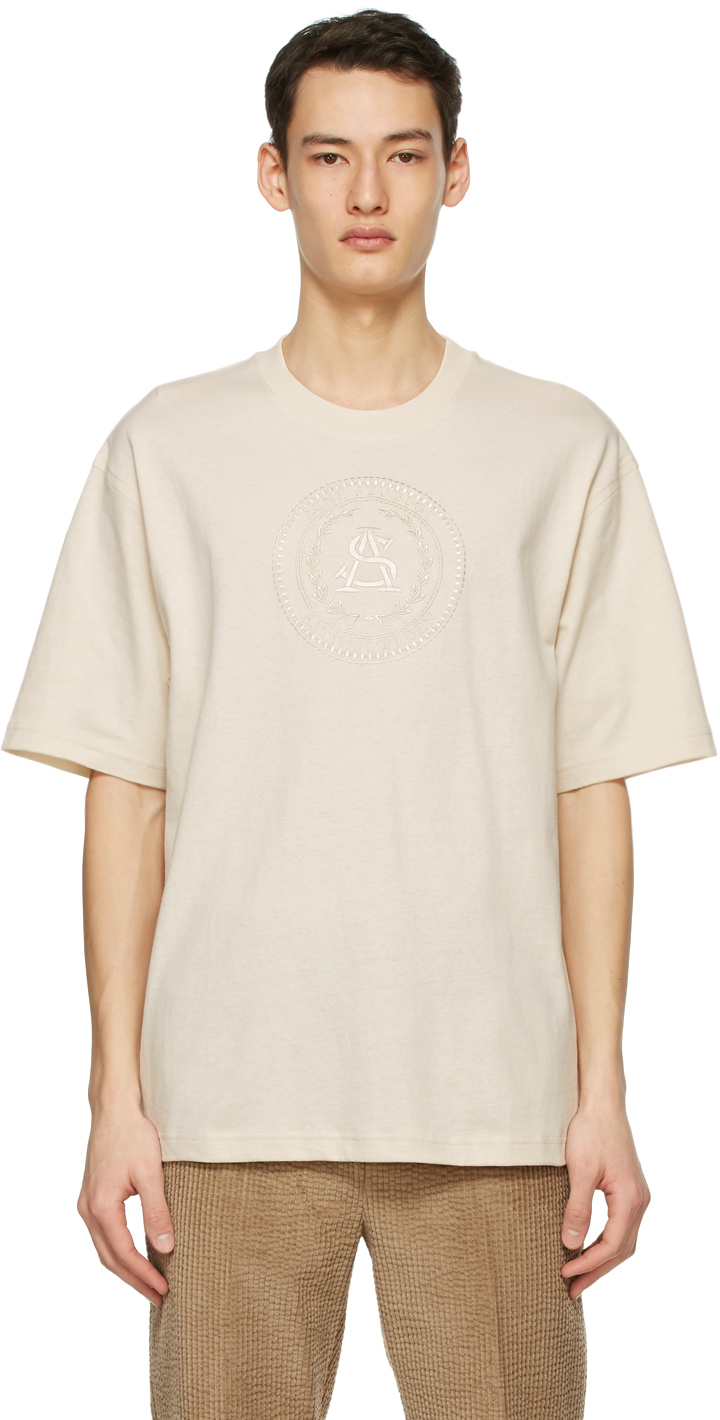 Acne Studios Beige Embroidered T Shirt 211129M213106