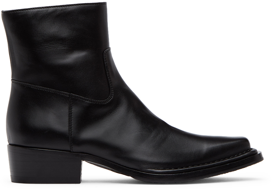Acne Studios Black Square Toe Zip Boots 211129M224236