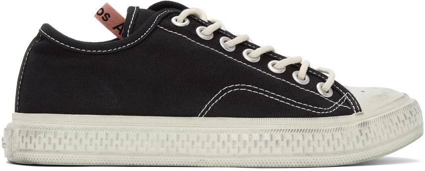 Acne Studios Black Canvas Low Top Sneakers 211129M237055