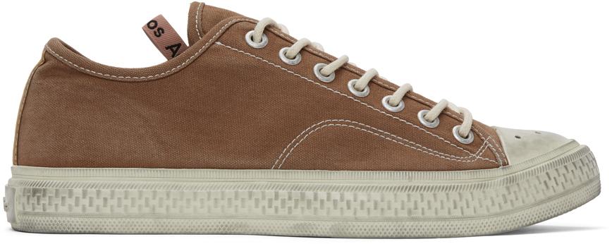 Acne Studios Brown Canvas Low Top Sneakers 211129M237056