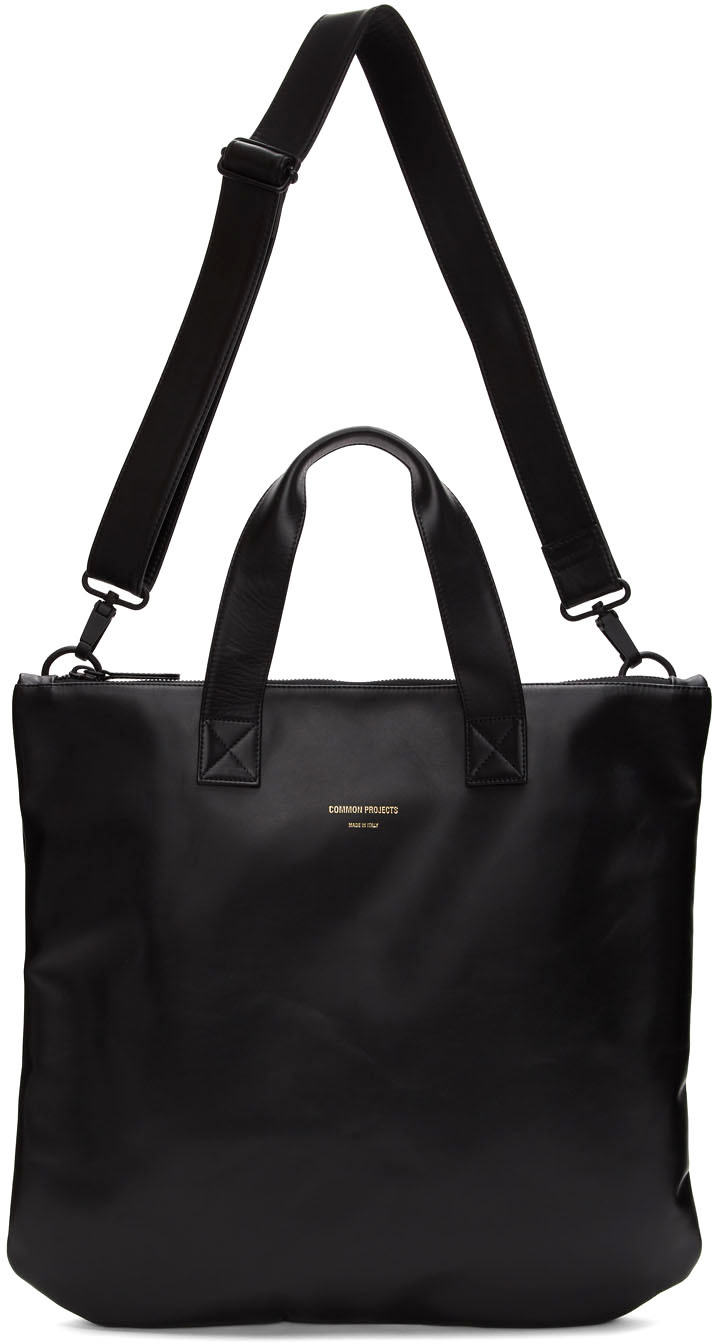 Black Leather Utility Tote