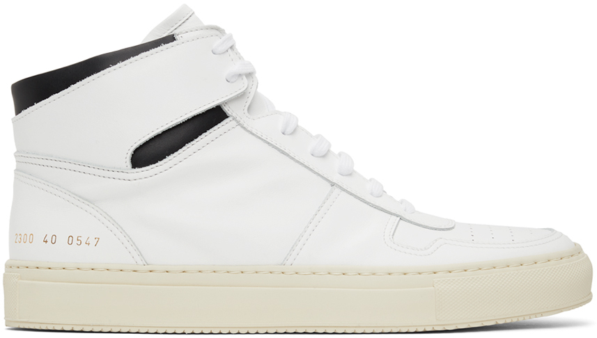 White & Black BBall High Sneakers