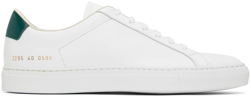 White & Green Retro '70s Low Sneakers