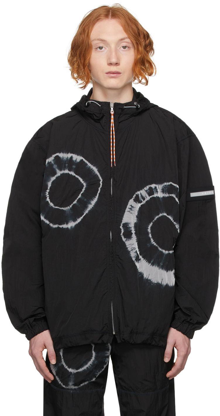 Black Tie-Dye Windcheater Jacket