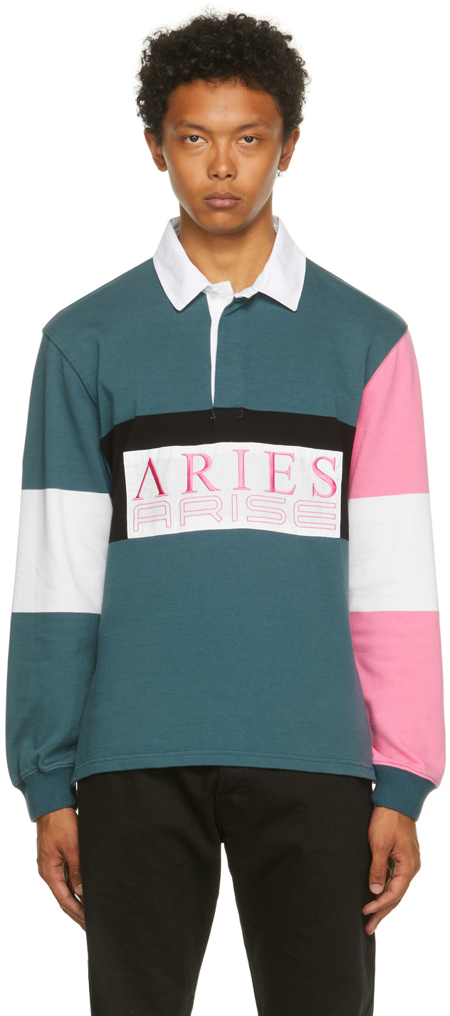 Blue & Pink Colorblocked Rugby Long Sleeve Polo