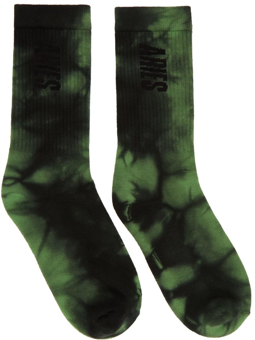 Green & Black Tie-Dye Logo Socks