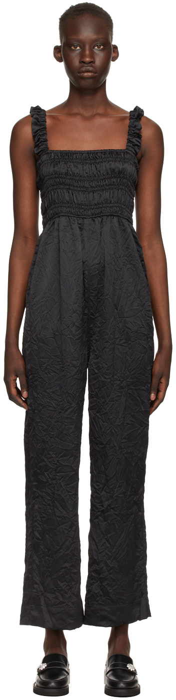 Ganni Satin-finish Crinkled Jumpsuit In 099 Black