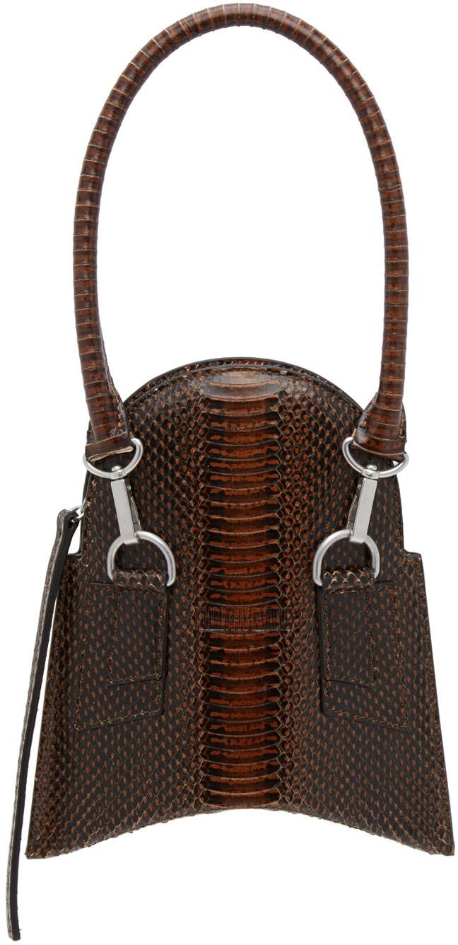 Brown Snake Embossed Fang Bag