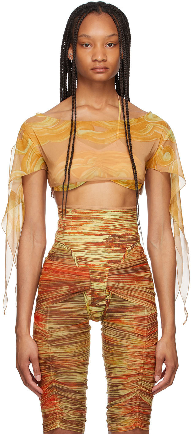 Orange Silk Kerchief Top