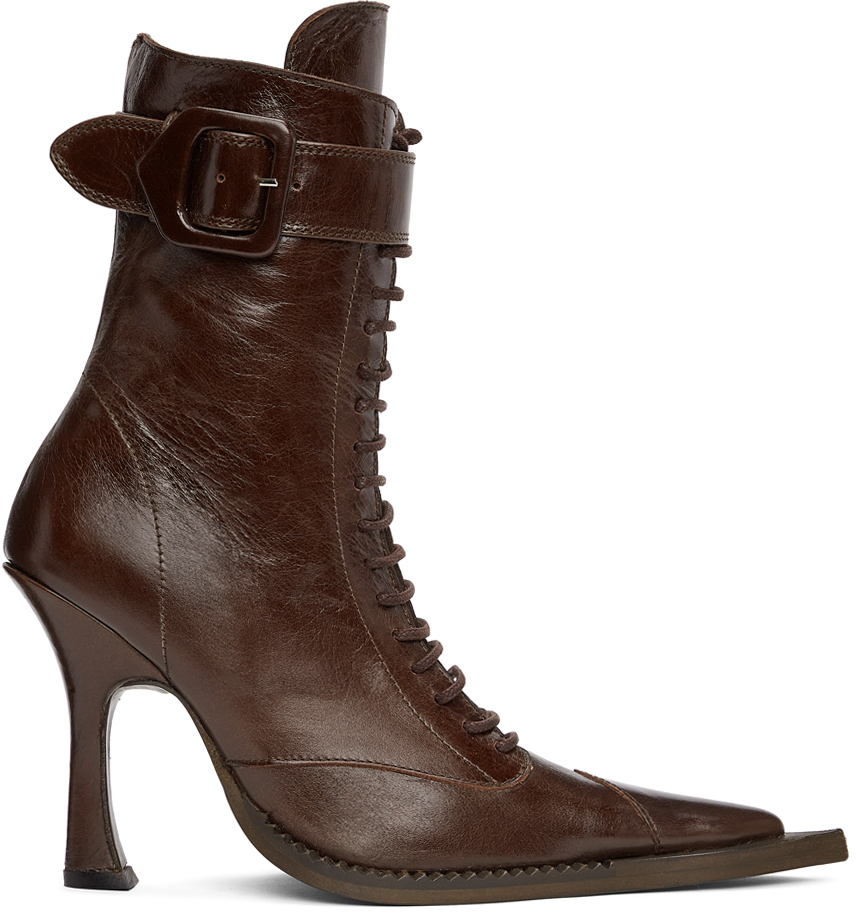 Charlotte Knowles SSENSE Exclusive Brown Serpent Lace-Up Heeled Boots