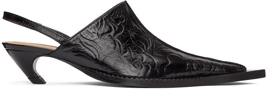 SSENSE Exclusive Black Embossed Leather Heeled Mule