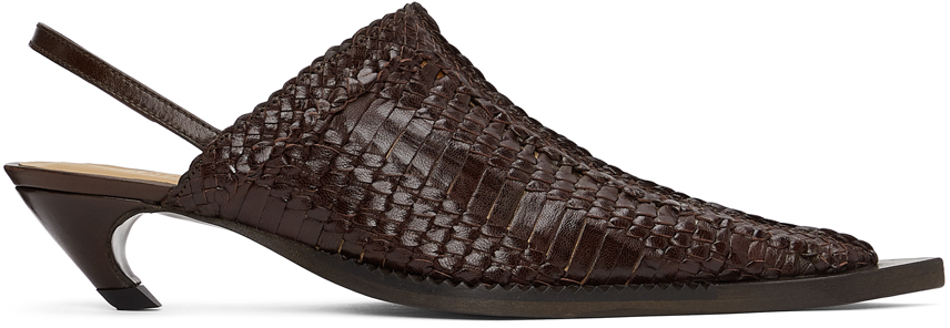 Brown Woven Heeled Mules