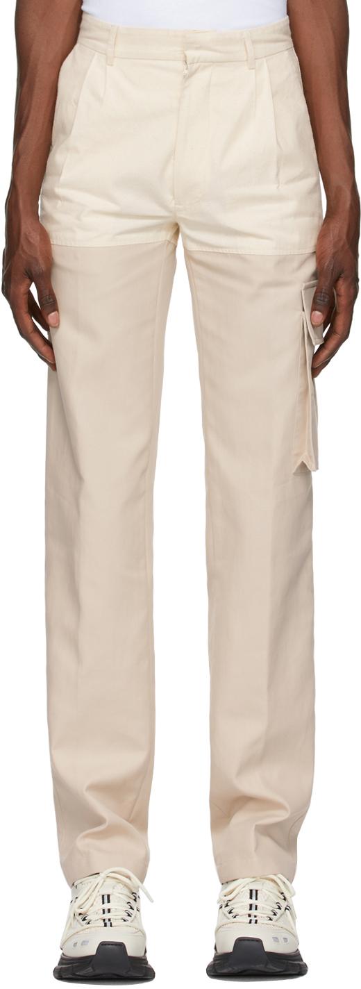 Beige & Off-White Paneled Cargo Pants