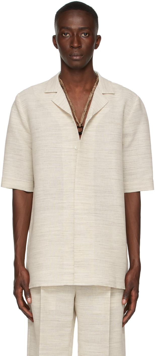 Beige Tropical Short Sleeve Shirt