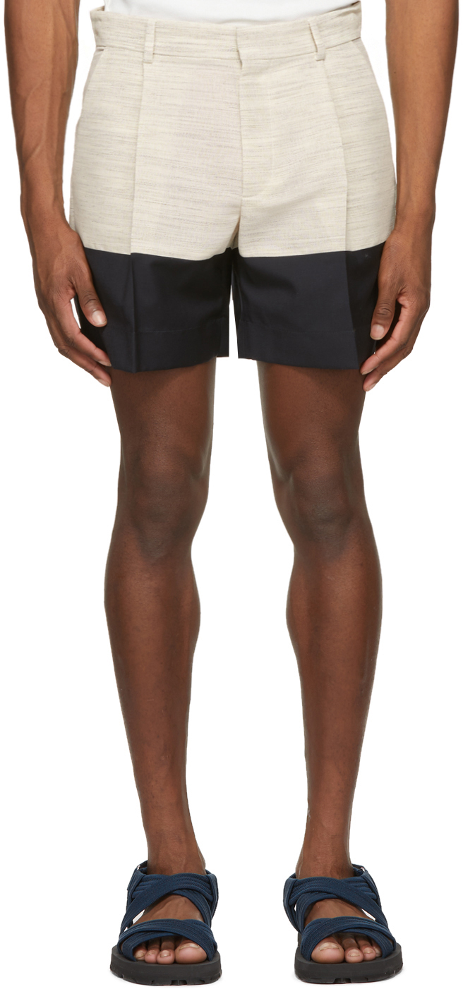 Beige & Navy Crêpe Incrustated Shorts