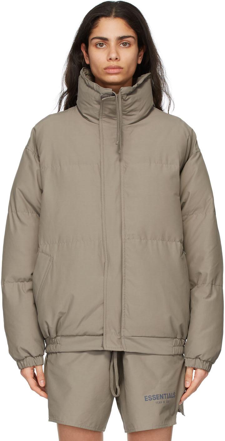 Khaki Nylon Puffer Jacket