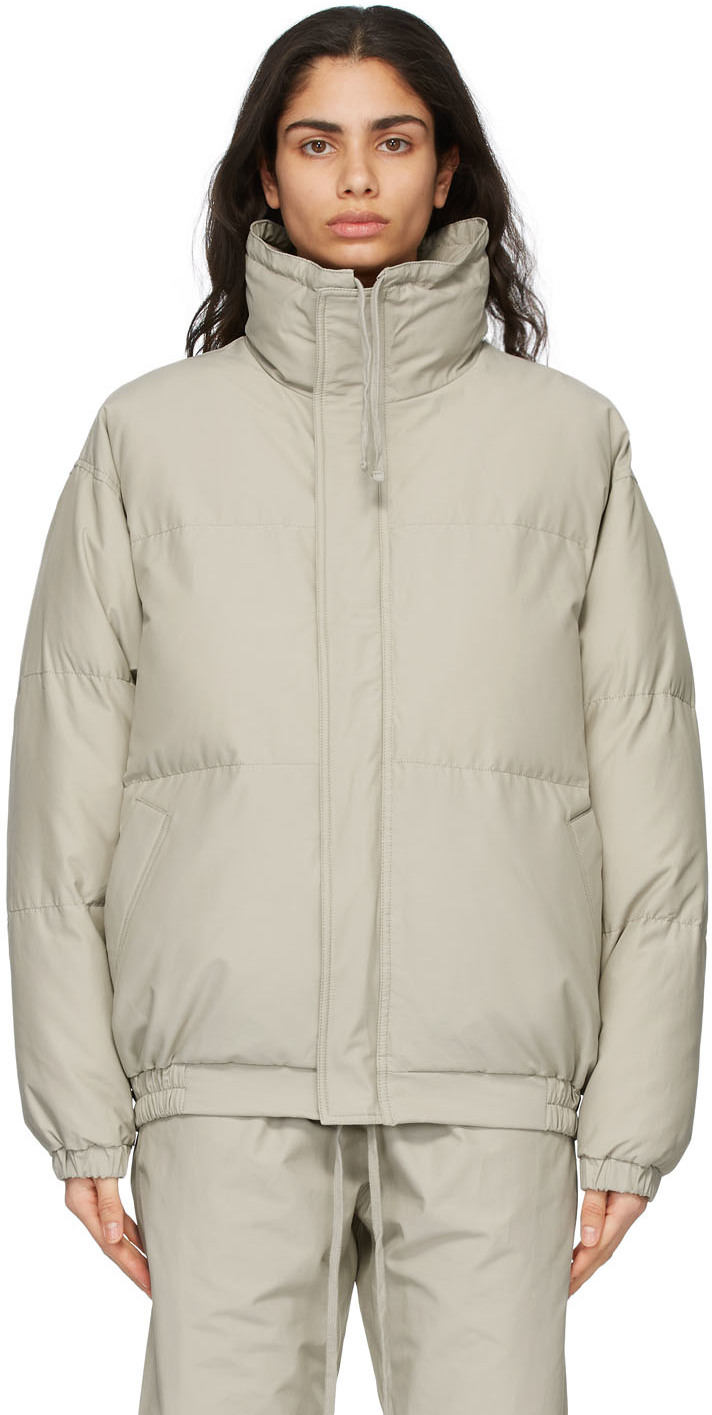 Beige Nylon Puffer Jacket