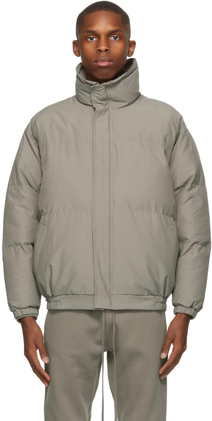 Taupe Nylon Puffer Jacket