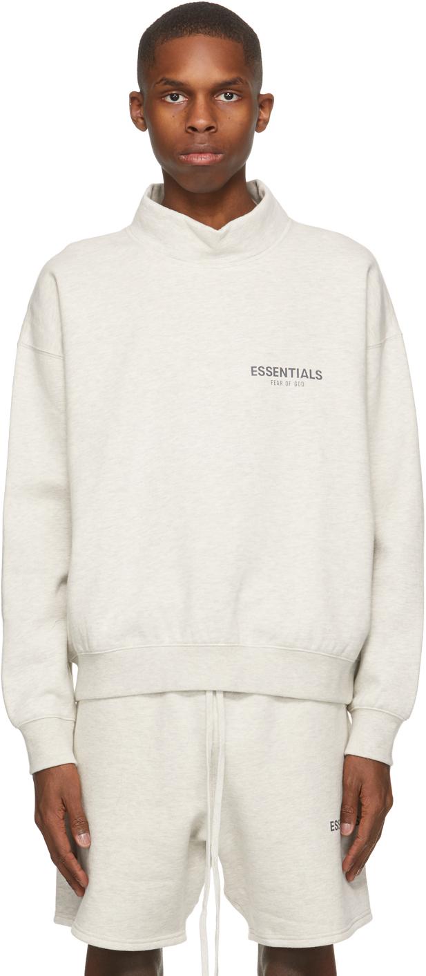 Essentials 灰白色小高领徽标套头衫